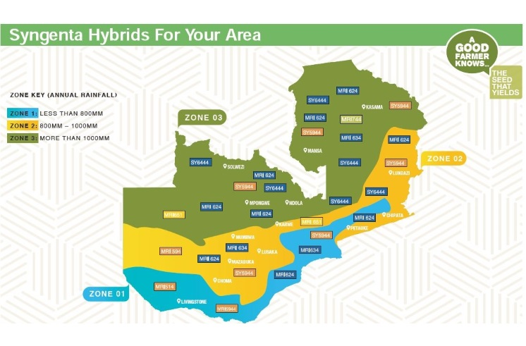 Map of Zambia with Syngenta Hybrids